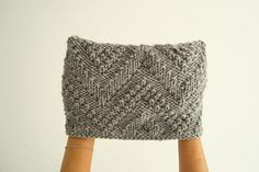 Chevron cowl hand knit cowl scarf in grey by alexmalexdesigns