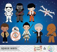 Instant Download Space Wars Digital Clipart by OneStopDigital