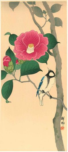 Landscaping With Rocks - How You Can Use Rocks Thoroughly Within Your Landscape Style Ohara Shoson Koson Camellia And A Japanese Tit Woodblock Print Japanese Artwork, Japanese Painting, Chinese Painting, Old Paintings, Nature Paintings, Botanical Illustration, Illustration Art, Japanese Nature, Japanese Calligraphy