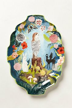Fern Forest Platter // Rebecca Rebouche, a native Louisianan living and working in New Orleans Pottery Painting, Ceramic Painting, Ceramic Art, Painted Ceramics, Ceramic Plates, Ceramic Pottery, Decorative Plates, Fern Forest, Jars