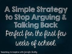 A Simple Strategy to Stop Arguing and Talking Back   Teaching To Inspire In 5th   Bloglovin'