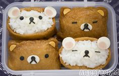 After I made Totoro inari-zushi, I had more inari-zushi skins left, so I decided to make some very very easy character inari-zushi the day after. Character inari-zushi Rilakkuma inari-zushi I must admit, I'm not that big fan of Rilakkuma. Bento Box, Lunch Box, Cute Food, Good Food, Rainbow Ice Cream, Picnic Lunches, Japanese Lunch, Bento Recipes, Rilakkuma
