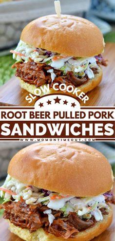 Coleslaw For Pulled Pork, Best Pulled Pork Recipe, Pulled Pork Recipe Slow Cooker, Pulled Pork Recipes, Slow Cooker Pork, Meat Recipes, Slow Cooker Recipes, Cooking Recipes, Root Beer Pulled Pork