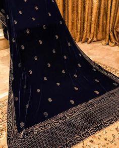 Dark Aqua Blue shawl with tila outline, Banarsi border and stones on top Bandhani Dress, Velvet Dress Designs, Block Print Saree, Velvet Shawl, Indian Men Fashion, Designer Party Wear Dresses, Bridal Shawl, Scarf Design, Printed Sarees