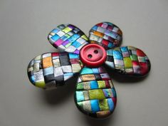 Quilted mosaic posy pin brooch with button by Pinderella on Etsy, $13.00