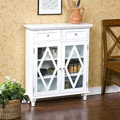 White Macon 2-Door Cabinet | World Market.com great piece for a small entry way landing zone