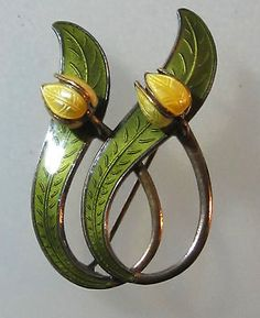 Aksel Holmsen Norway Sterling Enamel Lilly of The Valley Brooch