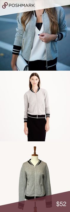 J. Crew Varsity Jacket Grey sweatshirt varsity jacket by J crew. Soft and easy to wear. It's a super versatile piece because you can wear it for a variety of different climates and it's great for layering too. Across the back 21 inches. Shoulder to hem 24 inches. J. Crew Jackets & Coats