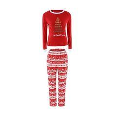 Rotita Christmas Pattern Top and Pants Pajama ($28) ❤ liked on Polyvore featuring intimates, sleepwear, pajamas and red
