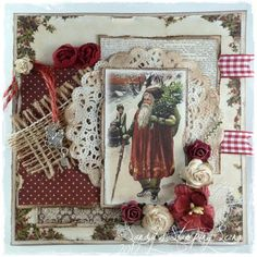 Christmas Card by DT Member Sandra Mathis using image and papers from Inkido/Forever Santa.