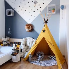 kleinkind zimmer Boy's Room inspiration featuring Nevada Teepee from Nobodinoz, Luggy from Olli Ella and Lion Trophy from Wild and Soft Kids Bedroom Designs, Boys Bedroom Decor, Kids Room Design, Baby Room Decor, Bedroom Wall, Bedroom For Kids, Boys Space Bedroom, Little Boy Bedroom Ideas, Wooden Bedroom