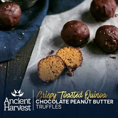 Take a bite out of these Crispy Toasted Quinoa Chocolate Peanut Butter Truffles by Ambitious Kitchen. Pin for a chance to win BIG in the Ancient Harvest #QuinoaCookieSwap. Learn more on facebook.com/AncientHarvest
