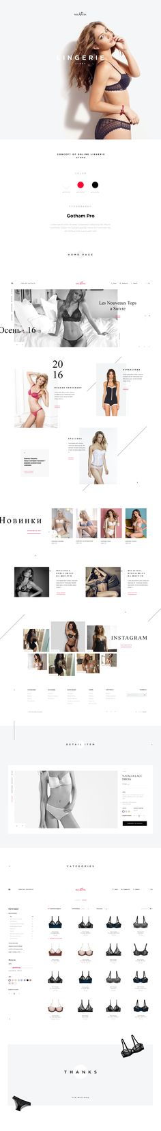 Concept design for an online store of lingerie, with an emphasis on typography and quality photos