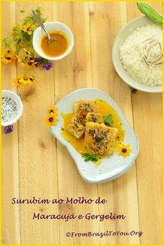 Surubim ao Molho de Maracujá e Gergelim servido com Arroz de Coco (2 receitas)