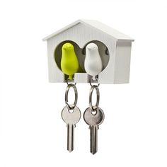 Utilissimi e romanticissimi portachiavi a forma di uccellino con la casetta. Ideali per le coppiette giovani.