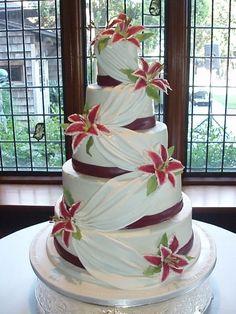 Absolutely Amazing Wedding cake with stargazer lily Wedding Cake Fresh Flowers, White Wedding Cakes, Elegant Wedding Cakes, Elegant Cakes, Wedding Cake Designs, Wedding Desserts, Wedding Ideas, Purple Wedding, Gold Wedding