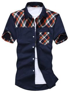 29e2e1a683b Fashion Pocket Design Colorful Checked Splicing Shirt Collar Short Sleeve  Slimming Cotton Blend Shirt For Men