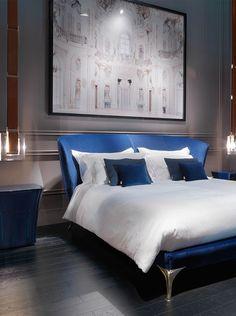 Paul Mathieu - Contour bed and bedside tables www.luxurylivinggroup.com #PaulMathieu #LuxuryLivingGroup