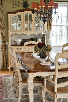farmhouse table -- two-tone marsilona dining room table view 1