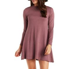 Charlotte Russe Rose Taupe Long Sleeve Crew Neck Swing Dress by... ($25) ❤ liked on Polyvore featuring dresses, rose taupe, short flare dress, trapeze dress, red mini dress, red dress and short dresses