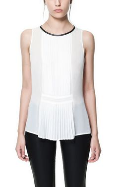 PLEATED TOP WITH FAUX LEATHER NECKLINE - Zara