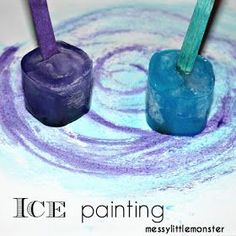 painting thats taste safe for babies toddlers and preschoolers. A perfect process art technique for a winter topic.Ice painting thats taste safe for babies toddlers and preschoolers. A perfect process art technique for a winter topic. Winter Art Projects, Winter Crafts For Kids, Winter Kids, Preschool Winter, Winter Crafts For Preschoolers, Winter Activities For Toddlers, Art Projects For Kindergarteners, Winter Art Kindergarten, Fun Art Projects