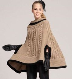 Handmade crochet poncho Made from wool and acrylic. Cable Knitting Patterns, Ladies Poncho, Crochet Summer Tops, Crochet Winter, Poncho Shawl, Knitted Poncho, Crochet Clothes, Ideias Fashion, Knit Crochet