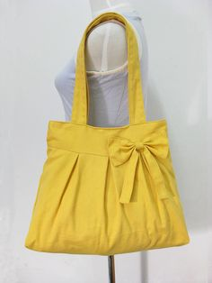 Yellow cotton fabric tote bag / shoulder bag / hand by Markfabric, $23.00  love this!