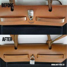 Cleaning & Recolor Result Hermes Herbag Zip Tote in Canvas and Cowhide  #hermesbag