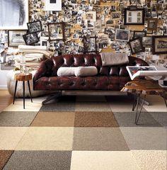 Een karpet samenstellen uit collectie tapijttegels en bevestigen met TacTiles kan zoals hier ton sur ton of lekker bont. Geschikt voor vele toepassingen. Modern Mix carpet tiles by FLOR