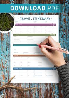 Download Printable Travel Itinerary PDF Europe Travel Tips, Packing Tips For Travel, Travel Essentials, Budget Travel, Europe Packing, Traveling Europe, Backpacking Europe, Packing Lists, Travel Hacks