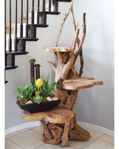 Driftwood stand with 3 shelves hand made from driftwood with 3 solid teak shelves. 6 feet high.