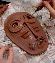 Intro to Ceramics: Mask Austin TX - Ceramic Art Middle School Art Projects, Art School, Ceramics Projects, Clay Projects, African Art Projects, High School Ceramics, Classe D'art, Ceramic Mask, 8th Grade Art
