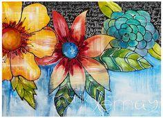 Carte de voeux fleurs 5x7  carte de souhaits fleurie Marika Lemay mixed media artiste carte de souhaits minimaliste fleurs jaunes et oranges de la boutique MarikaLemayArtiste sur Etsy