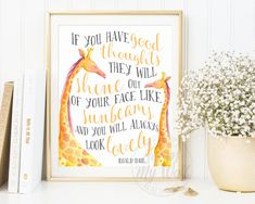 If You Have Good Thoughts, Roald Dahl Quote Print, Instant Download, The Twits, Nursery Wall Art Decor, Inspirational Print, Printable