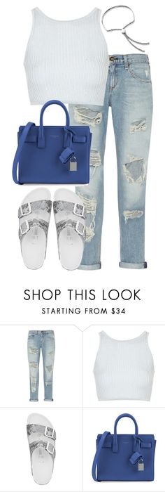 """""""Untitled #2664"""" by elenaday on Polyvore featuring rag & bone, Topshop, Birkenstock, Yves Saint Laurent and Monica Vinader"""