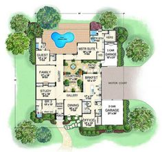 Interesting floor plan with courtyard. Lose the one car garage and instead make that an enlarged master bedroom sitting area.