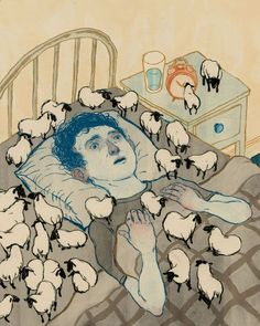 This is a visual metaphor for a guy who's an insomniac. He has had sleepless nights counting sheeps. The flock of sheep and his face are more indications of him just counting a lot of sheep to try and get some sleep.: