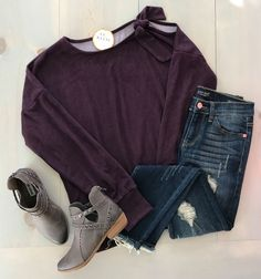 This faux suede top gives us the fall feels! Sugar Plum Top $44 JB Summer Nights Jeans $44 Brooks Bootie $48 Always fast, free shipping!