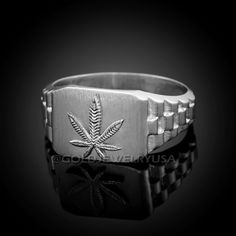 Top band with: Bottom width: Mens Gold Rings, White Gold Rings, Rings For Men, Marijuana Leaves, Top Band, Leaf Ring, Watch Bands, Weed, Band Rings