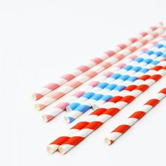 Colourful Twist Stripe Party Straws - A packet of 24 blue, red or pink and white twist stripe party straws. These wonderfully retro paper straws are perfect for any age or occasion. #stripes #stripey #straws #stripeystraws