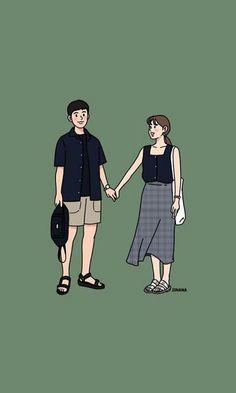 Cute Couple Drawings, Cute Couple Cartoon, Cute Couple Art, Cute Love Cartoons, Anime Love Couple, Cute Drawings, Cute Couples, Cover Wattpad, Cute Couple Wallpaper