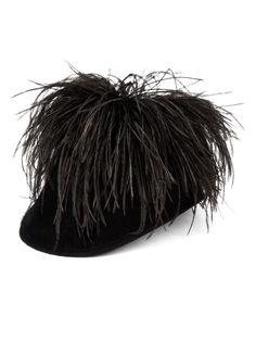 Lanvin Feather-detail felt cap