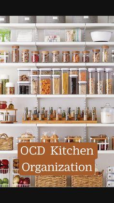 Kitchen Pantry Design, Kitchen Organization Pantry, Diy Kitchen Storage, Home Decor Kitchen, Kitchen Ideas, Small Kitchen Pantry, Open Pantry, Organized Kitchen, Decorating Kitchen