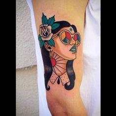 Old school style hippie girl tattoo