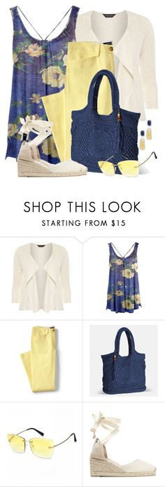 """Chino Crop Pants & Floral Tunic"" by brendariley-1 ❤ liked on Polyvore featuring Dorothy Perkins, Azalea, Lands' End, Avenue, Castañer and plus size clothing"