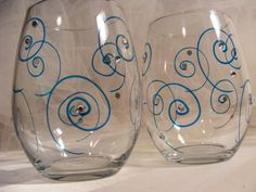 Popular items for painted wine glasses on Etsy