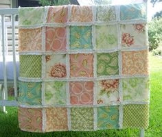 Baby Quilt Peach Turquoise Aqua Green Paisley Crib by CottageDome