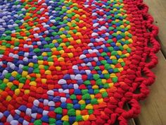 Handmade Rainbow Braided Area Round Rug from by mrsginther on Etsy, $139.00
