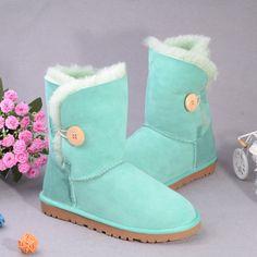 Aussie sheep fur snow boots Aqua buttons in tube flat sole
